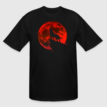 Howling wolf full blood moon space galaxy gift dog - Men's Tall T-Shirt