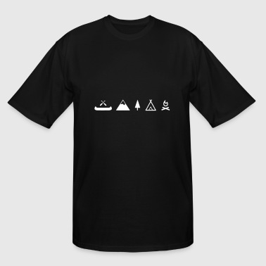 Camping canoe, campfire with mountain - Men's Tall T-Shirt