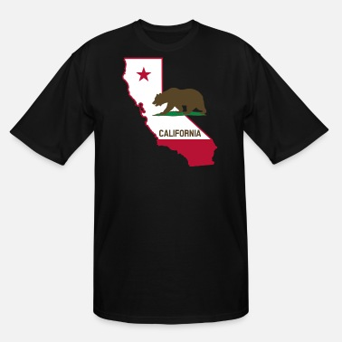 State CALIFORNIA STATE WITH STATE BEAR - Men's Tall T-Shirt