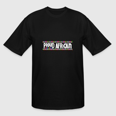 African Tribal Design Proud African - Tribal Design (White Letters) - Men's Tall T-Shirt