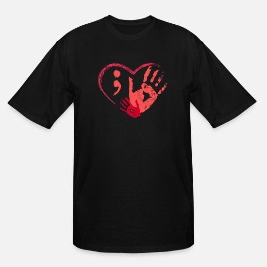 Heart T-Shirts - Cool Mental Health - Heart Love Happiness Light - Men's Tall T-Shirt black
