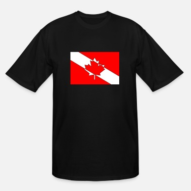 Canadian Flag Black Canadian Diver Flag Red, White and Black Outline - Men's Tall T-Shirt