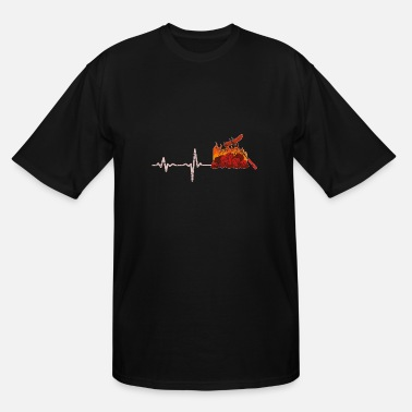 Charcoal Lighter gift heartbeat BBQ barbeque sausage - Men's Tall T-Shirt