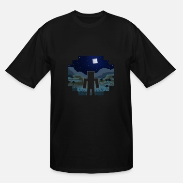 Blocky Mine Craft Landscape Night Outline - Men's Tall T-Shirt
