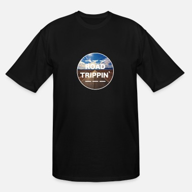 Text ROAD TRIPPIN / travel, roadtrip, desire, adventure - Men's Tall T-Shirt