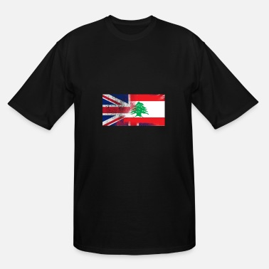 Half Lebanese British Lebanese Half Lebanon Half UK Flag - Men's Tall T-Shirt