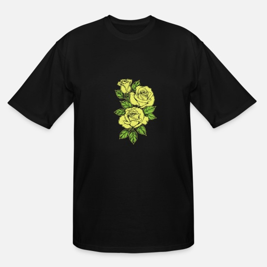 Rose  T-Shirts - Rose Yellow Nature Tattoo Symbol Flower Love Gift - Men's Tall T-Shirt black