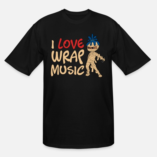 "Cat T-Shirts - ""I Love Music Wrap"" Tshirt Design Spooky Creepy - Men's Tall T-Shirt black"