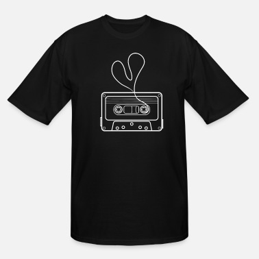 Abstract Music cassette with heart Drawing - Men's Tall T-Shirt