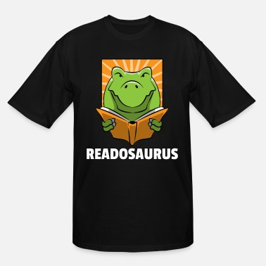 Fathers Day Dino Read Book Reading Rex Lovers Funny Cute Gift - Men's Tall T-Shirt