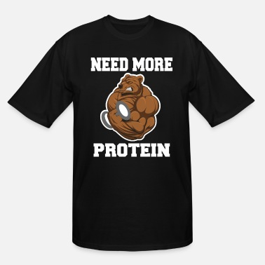Muscular Fitness Gym Bear - Protein Grizzly Bear - Men's Tall T-Shirt