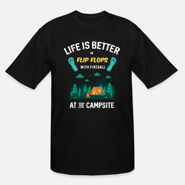 Fireball Flip Flops With Fireball Camping Outdoor Adventure - Men's Tall T-Shirt