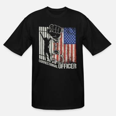 Grey American Flag Corrections Officer Thin Silver Line - Men's Tall T-Shirt
