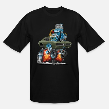 Muscle Classic American Muscle Car Hot Rod Cartoon - Men's Tall T-Shirt
