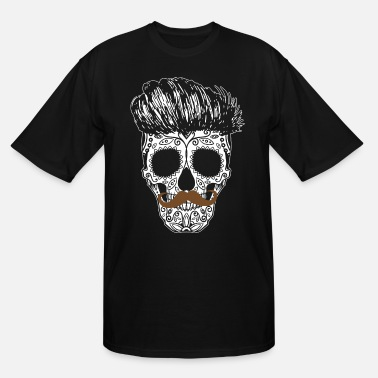 Skull Flower Sugarskull Hipster - Men's Tall T-Shirt