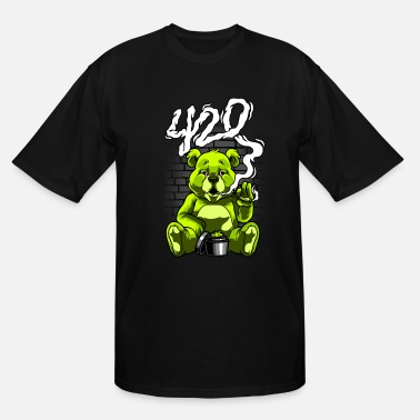 Stoner Smoking Teddy Weed Cannabis 420 Stoner Stoned Gift - Men's Tall T-Shirt