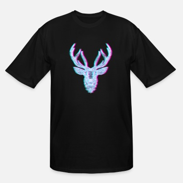 Neon Deer Antler Mandala Glitch Anaglyph - Men's Tall T-Shirt