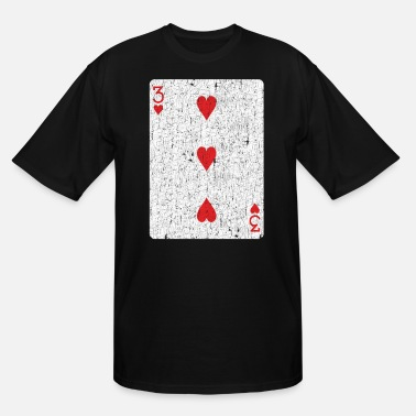 Playing three of hearts playing card - Men's Tall T-Shirt