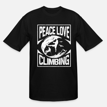 Rock Climbing T-Shirt Peace Love Climbing Rock Tee - Men's Tall T-Shirt