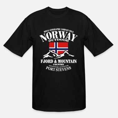 Norway Fjord & Mountain - Norway Flag - Men's Tall T-Shirt