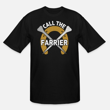 Farrier Call the Farrier - Horseshoe with nails - Men's Tall T-Shirt