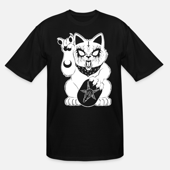 Gift Idea T-Shirts - Heavy Metal Lucky Cat T-shirt Shirt for Cat Lover - Men's Tall T-Shirt black