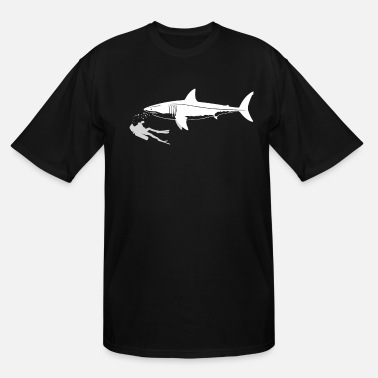 Scuba Diver Swimming With Great White Shark - Men's Tall T-Shirt