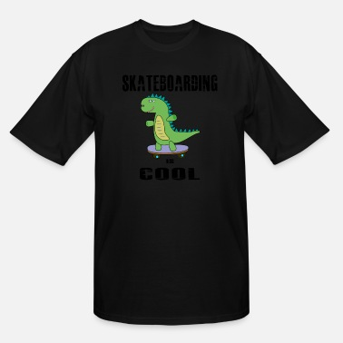 Skater skateboarding is cool, dinosaur, t-rex skater - Men's Tall T-Shirt