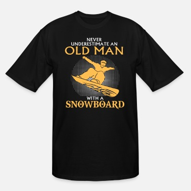 Man Awesome Old Man Snowboarding Gift T Shirt - Men's Tall T-Shirt