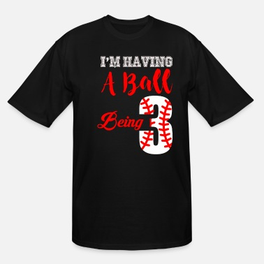 Turn 3rd Birthday Baseball Three Year Old Design Design - Men's Tall T-Shirt
