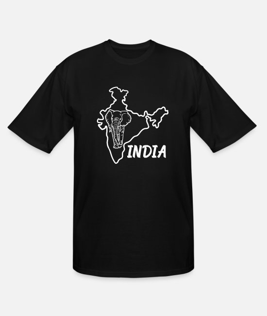 Ahmedabad T-Shirts - India Country Map And Elephant - Men's Tall T-Shirt black