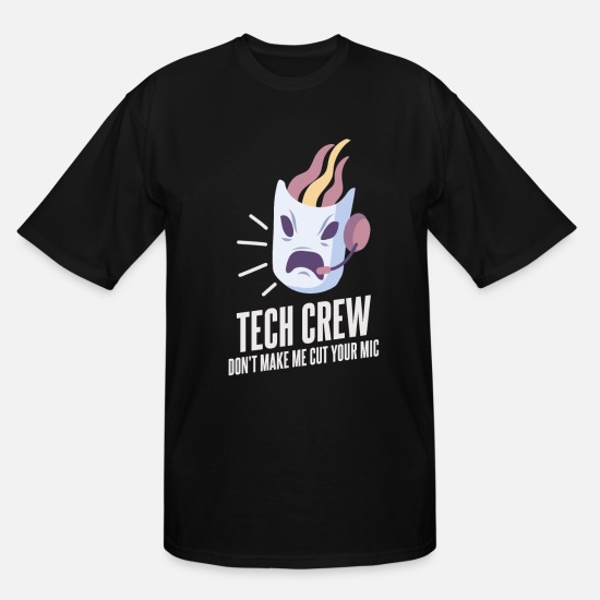 Broadway T-Shirts - Tech Crew Cut Your Microphone Broadway Theater - Men's Tall T-Shirt black