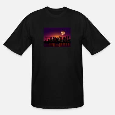 Dice Synthwave D20 Dice Moon Cityscape RPG Landscapes - Men's Tall T-Shirt