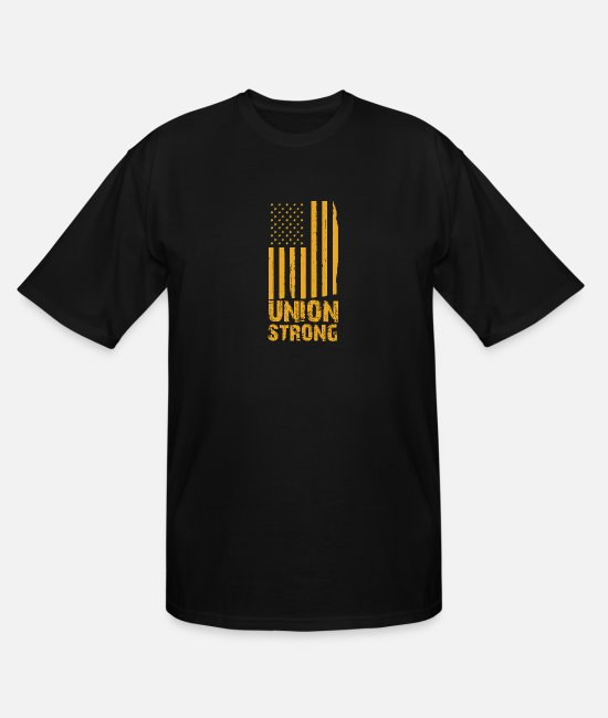 Holidays T-Shirts - Union Strong Vintage USA Flag Proud Labor Day - Men's Tall T-Shirt black