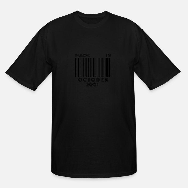 Production Year T-Shirts - Made in October 2001 | 18th Birthday Barcode - Men's Tall T-Shirt black