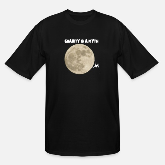Look Good T-Shirts - Climber On The Moon Shirt T-Shirt for bouldering - Men's Tall T-Shirt black