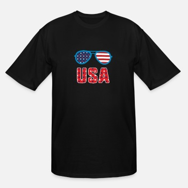 Shade USA 4th Of July Sunglasses Patriotic Stars Stripes - Men's Tall T-Shirt