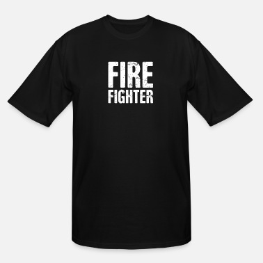 Fire Distressed FIRE FIGHTER Text - Men's Tall T-Shirt