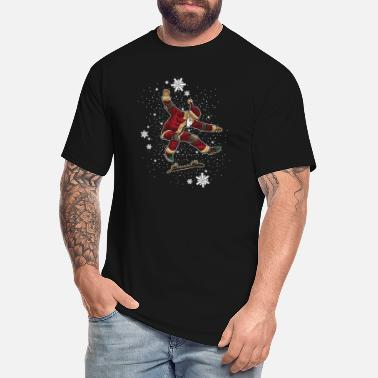 Skateboard Skateboard Santa Claus Does Tricks In The Snow - Men's Tall T-Shirt