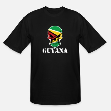 Flag Of Guyana Guyanese Flag Skull Guyana - Men's Tall T-Shirt