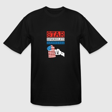 Star Spangled Hammered 4th Of July Drinking Shirt - Men's Tall T-Shirt