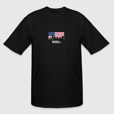 American Flag Toledo Skyline - Men's Tall T-Shirt