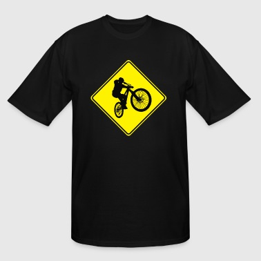 Mountain Biking Street Sign - Men's Tall T-Shirt