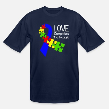 Puzzle Autism Puzzle Ribbon Awareness - Men's Tall T-Shirt