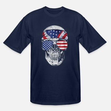 American Indian July 4th American Flag Skull Patriotic Gift shirt - Men's Tall T-Shirt