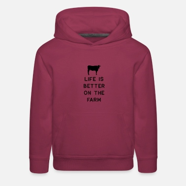 Life Is Better With A Pig Farm Farmer Girls Farming Shirt Life Is Better On The Farm Black Cute Gift Farm Country USA - Kids' Premium Hoodie