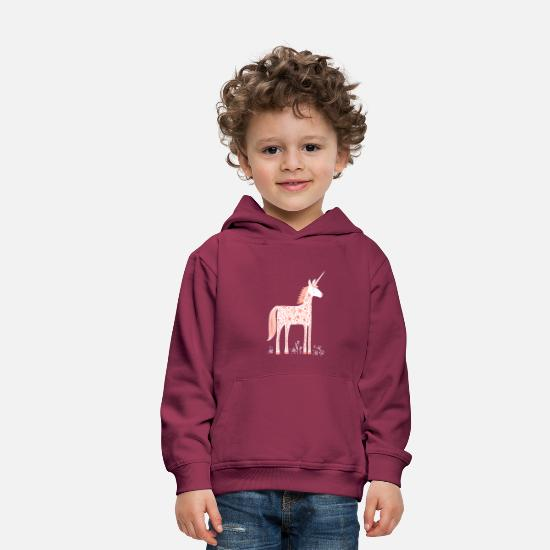 Magic Hoodies & Sweatshirts - Unicorn With Flowers - Kids' Premium Hoodie burgundy