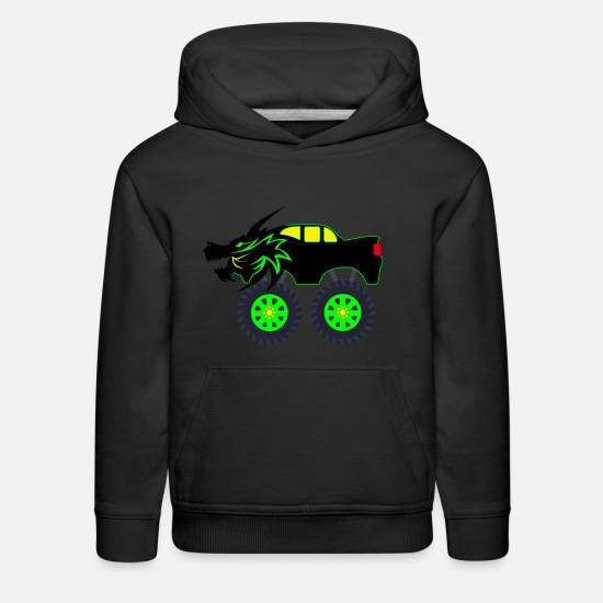 Truck Hoodies & Sweatshirts - Dragon Monster Truck - Kids' Premium Hoodie black