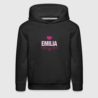 EMILIA, Love, Hearts, Baby, Girls, Birthday, Gifts - Kids' Premium Hoodie