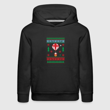 Hot Air Balloon Funny Ugly Christmas Santa In Hot Air Balloon - Kids' Premium Hoodie